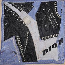 Petit carré de SOIE DIOR motifs jean & cuir