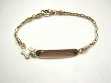 """Chain Bracelet 5.5"""" Child Toddler Baby bear Real 14K Yellow Gold Blank Id Name"""