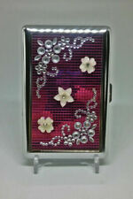 Fujima Pink Double Sided Metal Handcrafted Stones 100s Size Cigarette Case