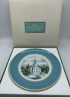Avon Christmas Plate Wedgwood Tunstall Gold Trim 1974 Country Church England Box