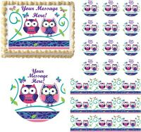 Cute PATCHWORK OWLS Edible Cake Topper Image Frosting Sheet Cake Decoration