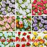 100Pcs Mini Satin Ribbon Rose Flower Leaf Bow Wedding Applique Sewing DIY l