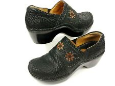 Ariat Bella Black Floral Leather Closed-Back Clogs 10008679 Women's Size 10 B