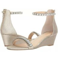 4c291a664513 JEWEL BY BADGLEY MISCHKA MEL ANKLE STRAP CRYSTAL WEDDING WEDGE SHOES SZ 6