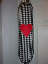 Black Gingham Carrier Bag Holder/Dispencer  Homecrafted Shabby Chic (c)