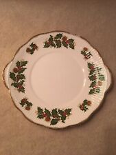 "Queen's~Rosina China Co.Handled  10"" Cake Plate ~Yuletide Pattern"