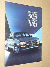 Prospectus PEUGEOT 505 V6 1987  brochure prospekt  car catalogue