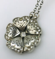 Brighton Heart Flower Crystal Pendant Silver Necklace Reversible Convertible