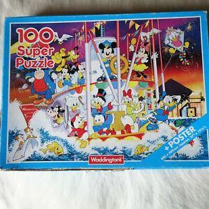 Waddingtons 100 pieces Jigsaw Puzzle WALT DISNEY 1991 Mickey Minnie Donald Goofy