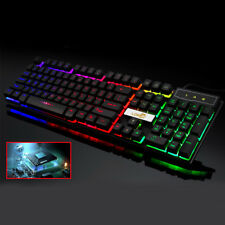 USB Wired PC Computer Gaming Keyboard Colourful LED Metal Backlight Mechanical