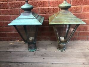 Working Pair Vintage Aged Copper 4-Sided Outdoor Light Fixtures w/awesome patina