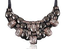 Trendy Fashion Jewel Gem Acrylic Gem Bead Bib Black Satin Tie Ribbon Necklace