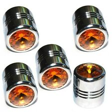 5 Chrome Amber Gem Tire Air Valve Stem Caps Car Truck Hotrod ATV w/ Spare Wheel