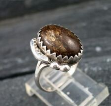 Old Pawn Indian Native American 925 Sterling Silver Jasper Leaf Ring Size 5.75