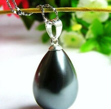 South 12x16mm Black Sea Shell Pearl Pendant Necklace