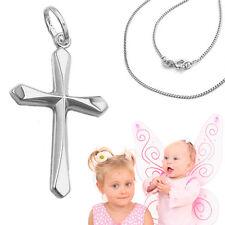 Paten Geschenk Kinder Taufkette Kommunion Kreuz Anhänger mit Kette Silber 925