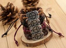Alloy Lots 12PCS Peace Sign Cross Leather Bracelet Factory direct