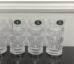 Set of THREE Ralph Ettrick Lauren Highball Crystal Glasses Made In Germany