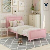 Platform Bed Frame W/ Headboard Twin Size Upholstered Bed Wood Frame, White/Pink