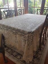 Antique Italian Sardian Cream Mondano Knotted Lacis Filet Lace Tablecloth 270cm