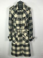 WOMENS TED BAKER BLACK GREY WHITE CHECK WOOL BLEND BELTED OVERCOAT SIZE 2 UK 10