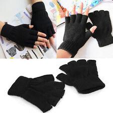 Mens Ladies Boys Women Black Half Finger Magic Gloves