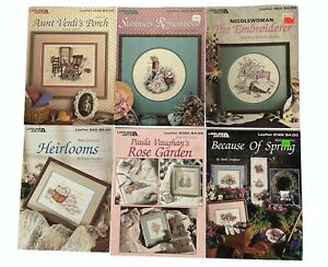 Lot of 6 Paula Vaughan Cross Stitch Leaflets Patterns Leisure Arts Quilts Floral