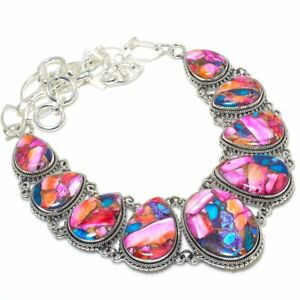 """Natural Kingman Pink Dahlia Turquoise Gemstone Silver Jewelry Necklace 18"""" MN588"""