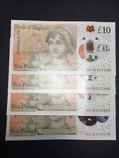 4X NEW CONSECUTIVE £10 Polymer Ten Pound Note starting AK19 (SOLD SEPARATELY)