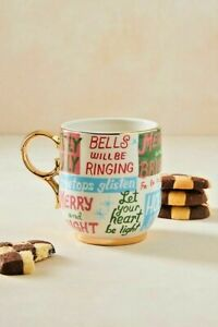NWT Anthropologie Blue Danielle Kroll Making Spirits Bright Mug