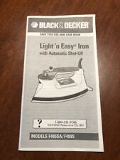 Black & Decker ~ OWNERS MANUAL ~~ Light n Easy Iron~ Models F495SA/F499S