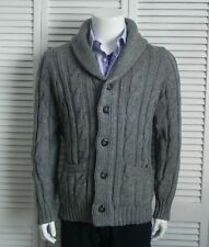 NEW Mens SZ 2XL ALPACA Light Gray Cable Knit Shawl Collar Cardigan Sweater PERU