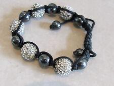 Glorious Sparkly Black Diamante Balls Alternate Black Pearls Adjustable Bracelet