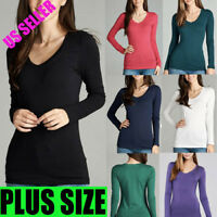 New Women PLUS Long Sleeve V-NECK T-Shirt Active Basic Cotton Layering 1X,2X, 3X