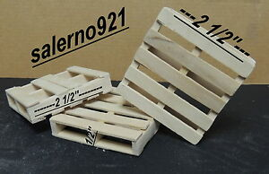THREE (3) WOODEN PALLETS 1:18 SCALE FOR YOUR DIORAMA MADE IN THE USA !