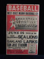 >Old/RARE 1946 Negro Leagues BASEBALL BROADSIDE Oakland Larks v SF Sea Lions