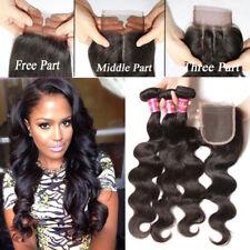 ATOZ 8A Malaysian Hair 3 Bundle and Closure Body Wave Human Hair Lace Closure US