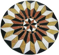 Floor Marble Round Medallion Star Rojo Gold Compass Rose Tile Mosaic 48 in