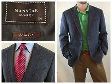MANSTAR Milano Blue Herringbone Slim Fit Wool Blazer Casual Dress - Sz Med 40 R