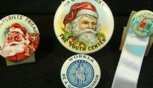 (4) vintage pins - Joe the Motorist's Friend, Christmas Gifts Youth Center, more