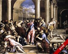 JESUS CHRIST CLEANSING TEMPLE IN JERUSALEM PAINTING BIBLE ART REAL CANVAS PRINT
