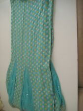 Readymade Sari 3Pcs Light Blue w/Gold/Blue Beads Embroidery Silver Sequence New