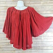 Jens Pirate Booty Top XS S Mexican Gauze Batwing Boho Festival Red Poncho Draped