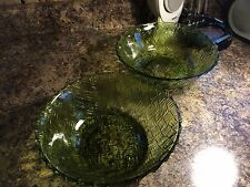 """Lot of 2 Vintage Mid-Century Green Glass 9"""" Serving Bowls"""