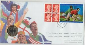 1999 RUGBY WORLD CUP £2 COIN STAMP COVER SET IN NEAR MINT CONDITION.