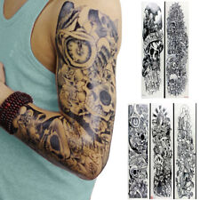 5pcs Black Temporary Tattoo Waterproof Large Arm Body Art Tattoos Sticker Sleeve