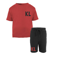 Personalised Initial Toddler Tracksuit Kids Shorts Suit Set Summer Custom Red
