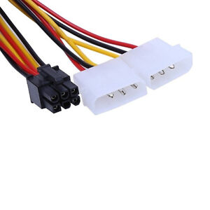 ATX IDE Molex Power Dual 4 To 6-Pin PCI Express Video Card Adapter Cable. 0168