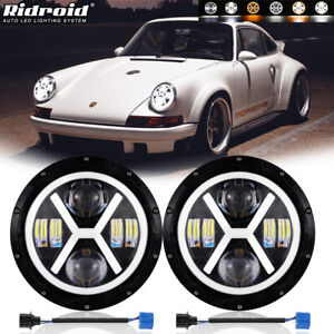 """Pair 7"""" Inch LED Headlights Halo Angel Eyes for Porsche 911/912/914/924/928/944"""