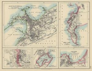 AFRICAN PORTS. Alexandria Cape Town Cairo Port Natal Durban. JOHNSTON 1901 map